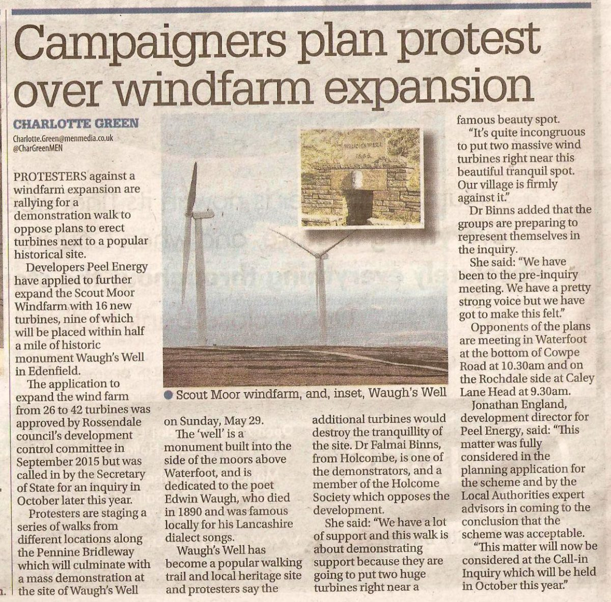 Campaigners plan protest over wind farm expansion